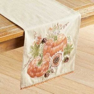 NEW Pier 1 Embroidered Pumpkin Table Runner 72""
